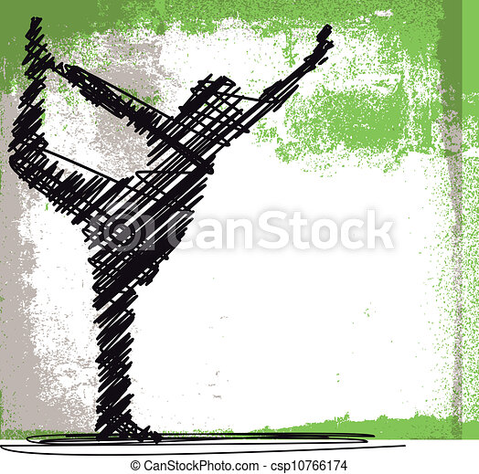 skizze, frau, abstrakt, yoga., meditieren, abbildung, vektor - csp10766174