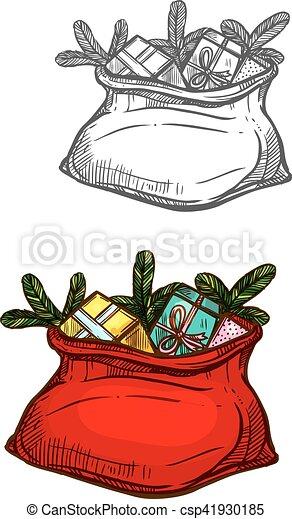 Weihnachtsgeschenke Sack.Skizze Freigestellt Sack Geschenke Tasche Santa Weihnachten