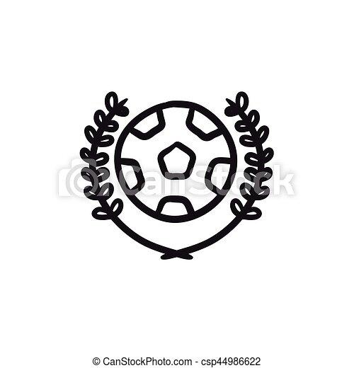 Skizze Fussball Abzeichen Icon Website Skizze