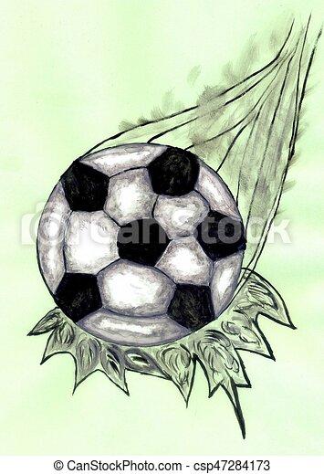 Skizze Fussball Ball Skizze Grunge Illustration Hand