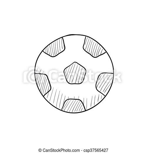 Skizze Fussball Icon Kugel Website Skizze Kugel