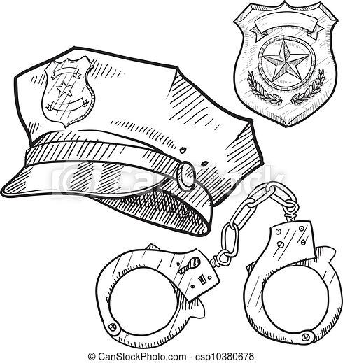 Skizze, Gegenstände, Polizei Vektor