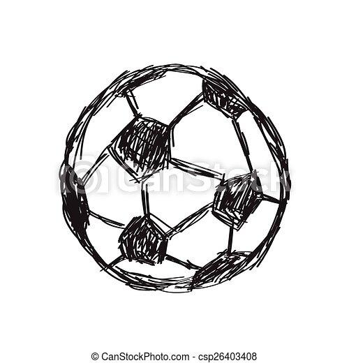 Skizze Gekritzel Fussball Hand Gezeichnet Ikone