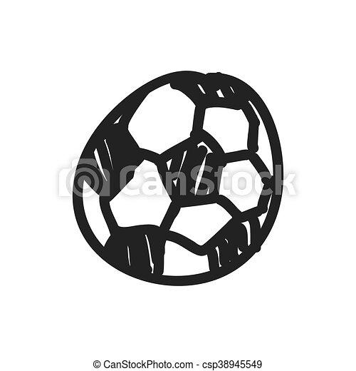 Skizze Grafik Kugel Vektor Icon Fussball Design