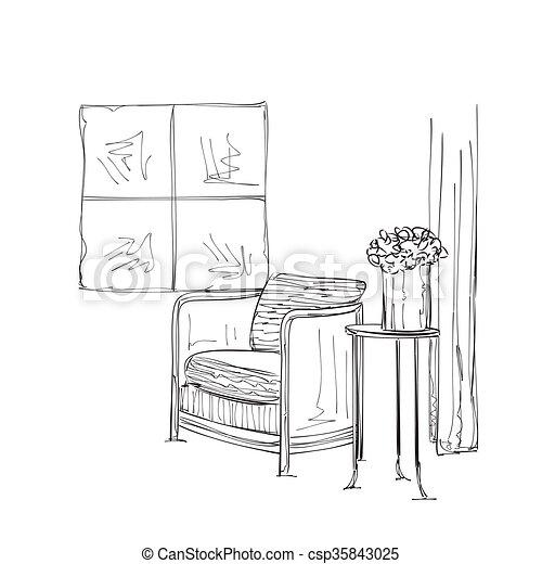 Tisch gezeichnet  Vektor Illustration von skizze, hand, interior., gezeichnet, stuhl ...