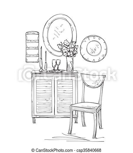 Stuhl gezeichnet  Skizze, handspiegel, gezeichnet, stuhl, tisch. Sketch.,... Clipart ...