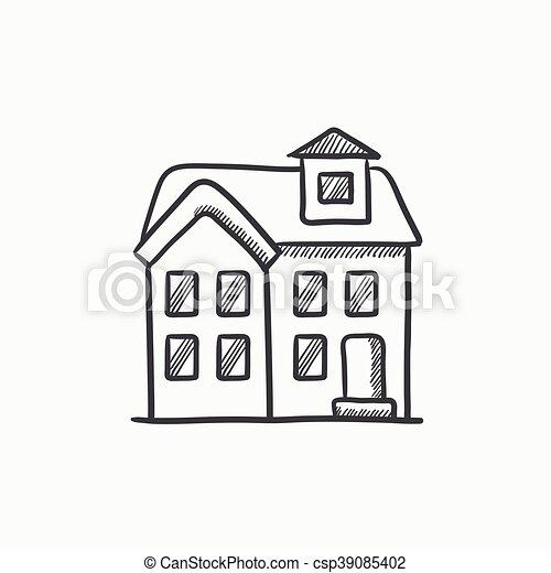 skizze haus gescho zwei icon freistehend website skizze hintergrund infographic haus. Black Bedroom Furniture Sets. Home Design Ideas