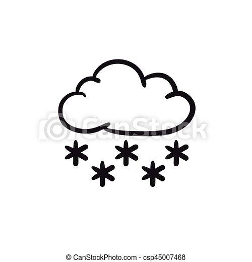Skizze Icon Wolke Schnee Website Skizze Hintergrund