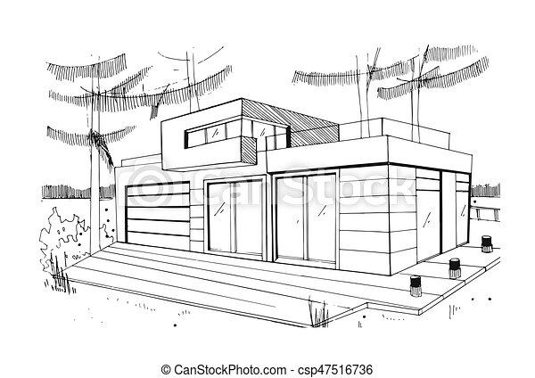 skizze illustration wohnhaeuser kontur modern house