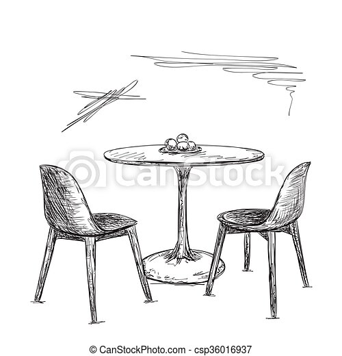 Skizze Interior Tisch Stuhl Cafe Oder Kueche Skizze