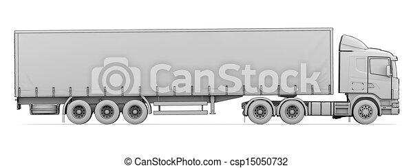 Skizze, lastwagen, weißes. Skizze, render, freigestellt ...