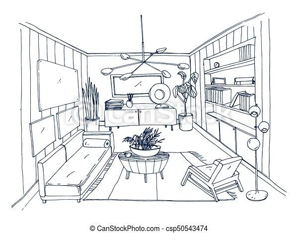 Skizze, Möbliert, Modern, Monochrom, Daheim, Kontur, Design.,  Lebensunterhalt, Wohnung, Style.,