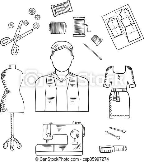 Skizze, mode, beruf, entwerfer, schneider, oder, ikone. Skizze, mode ...