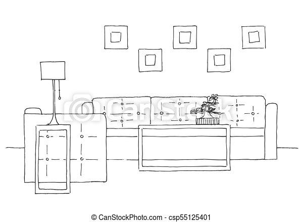Skizze Plant Sofa Hand Lampe Vektor Abbildung Stuhl