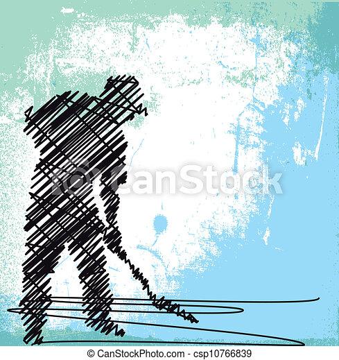 Abstract Sketch von Worker graben mit einer Schaufel. Vector Illustration - csp10766839