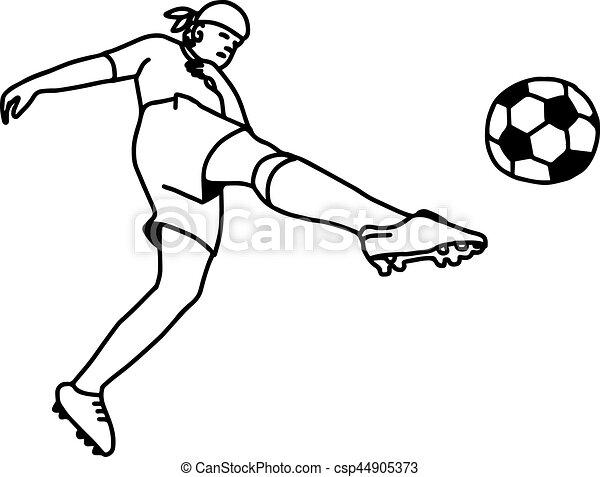 Skizze Spieler Fussball Freigestellt Abbildung Hand