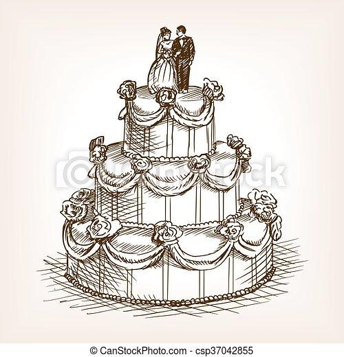 Skizze Stil Hand Vektor Hochzeit Kuchen Gezeichnet Stich