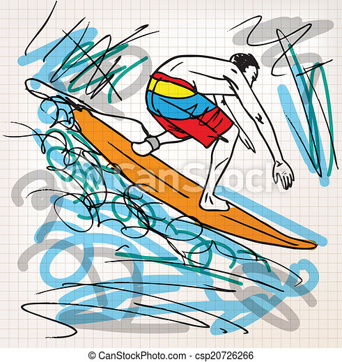 skizze, surfen, abbildung - csp20726266