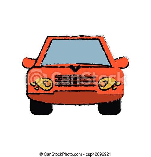 Skizze, transport, auto, orange, fahrzeug, vorderansicht.... Vektor ...