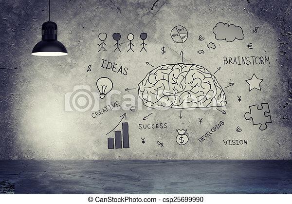 Skizzen, diagramm, stern, wand, lampe, geld, beton, ideen,... Stock ...