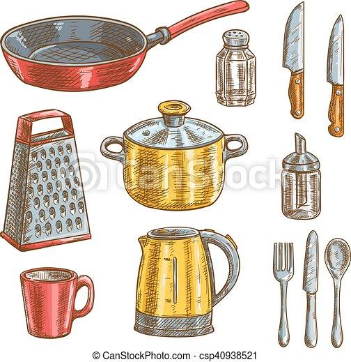 Skizzen ger te kochen kueche skizzen shaker messer for Recipiente para utensilios de cocina