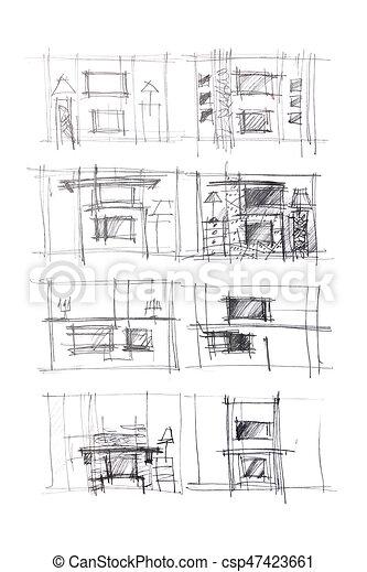 Skizzen, lebensunterhalt, graphisch, zimmer, innere, modern ...