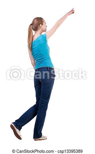 skjorta, synhåll, vandrande, baksida, jeans, kvinna pekande - csp13395389
