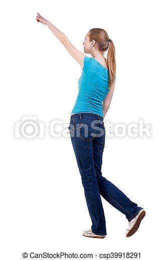 skjorta, synhåll, vandrande, baksida, jeans, kvinna pekande - csp39918291