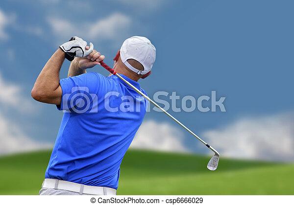 skjutning, golfspelare, golfboll - csp6666029