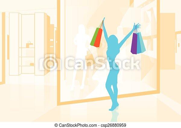 sklep, mnóstwo, kobieta shopping, ilustracja, okno, wektor, utrzymywać - csp26880959