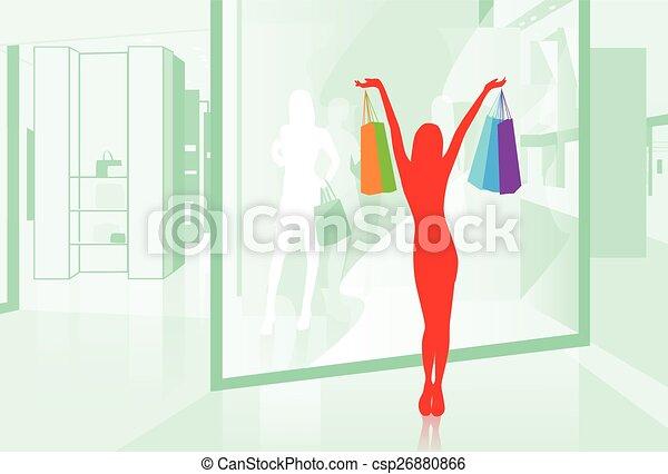 sklep, mnóstwo, kobieta shopping, ilustracja, okno, wektor, utrzymywać - csp26880866