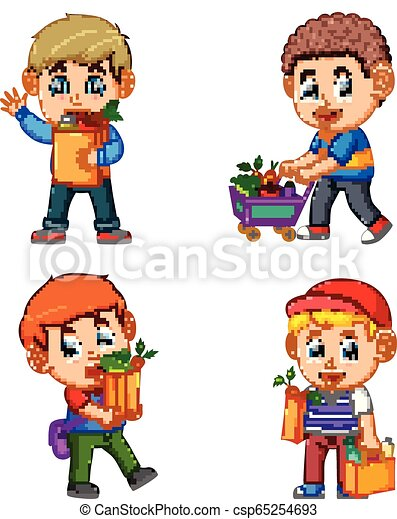sklep spożywczy, komplet, zakupy, warzywa, młody, inkasowa torba, owoc, dzierżawa, człowiek - csp65254693