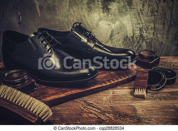 sko, trä tabell, omsorg, tillbehör - csp28828534