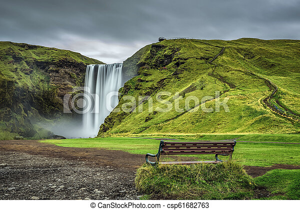 Skogafoss waterfall in southern Iceland - csp61682763