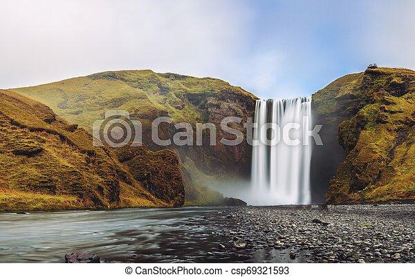 Skogafoss waterfall panorama in southern Iceland - csp69321593