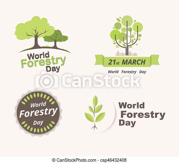 skogsbruk, 21, sätta, illustration., march., day., vektor, värld - csp46432408