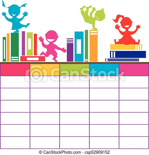 skola skämtar, tecknad film, böcker, tidtabell, leka - csp52909152