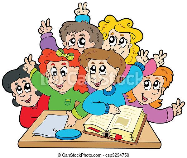 Skole kids, gruppe, illustration., -, vektor.