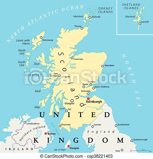 Skottland Politisk Karta Kungarike Karta Ivrig Enigt Tredje