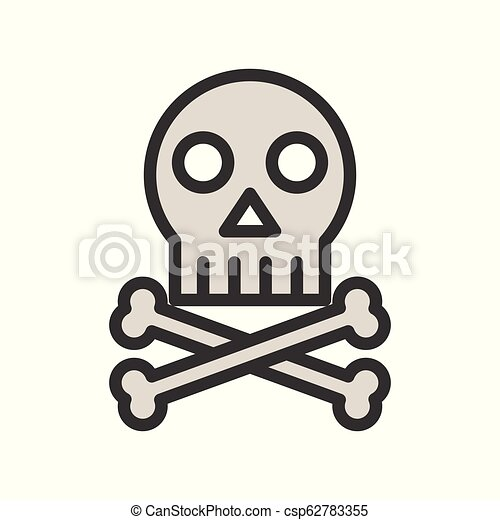 Skull and bone, death or pirate sign icon - csp62783355