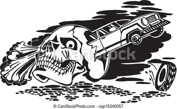 Skull And Car Vector Illustration Skull And Car Vinyl