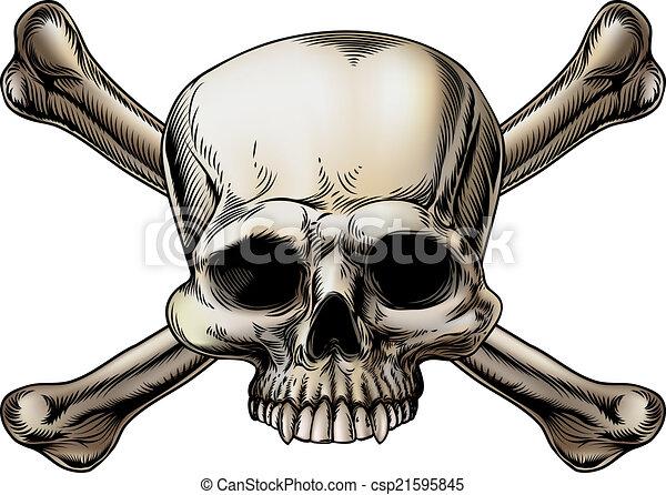 Skull and crossbones drawing - csp21595845