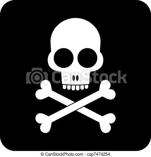 Skull and crossbones - icon - csp7474254