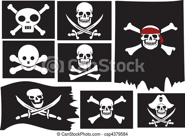 Skull and crossbones. Pirate flags - csp4379584