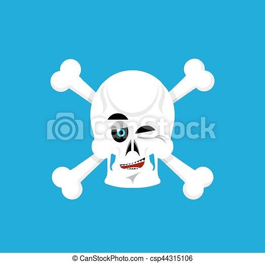 Skull and crossbones winks emoji. skeleton head happy emotion ...
