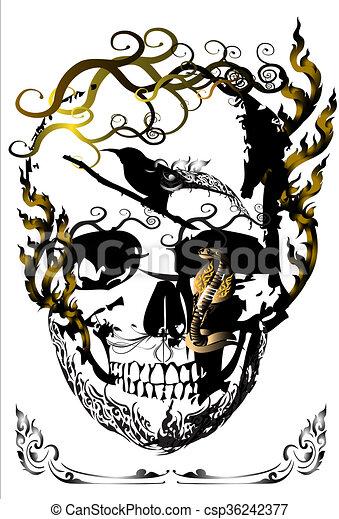 skull-and-line-thai-idea - csp36242377