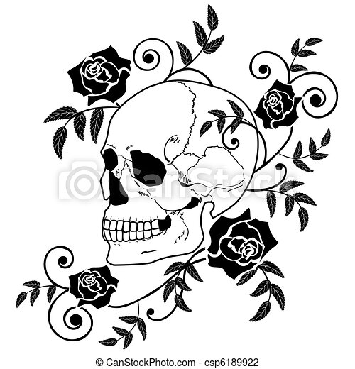 skull and roses - csp6189922