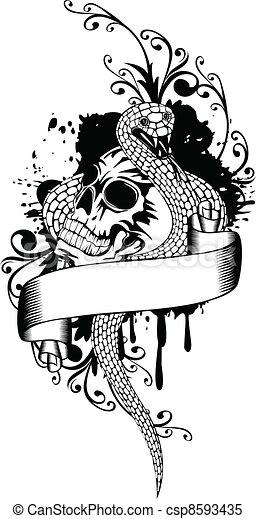 skull and snake - csp8593435