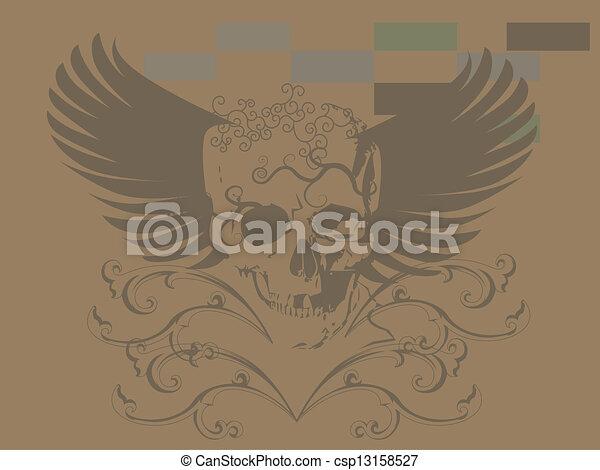 78f8556a1171d Skull art tattoo. Anatomy, angel, art, background, fire, skull ...