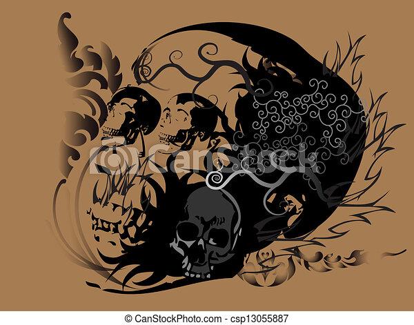 Line Art Tattoo : Skull art tattoo head shock wings line thai stock